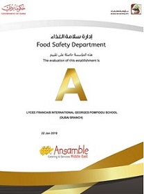 ANSAMBLE UAE - FOOD SAFETY RATING - OUTSTANDING GOLD FROM DUBAI MUNICIPALITY - FRENCH SCHOOL DUBAI KITCHEN